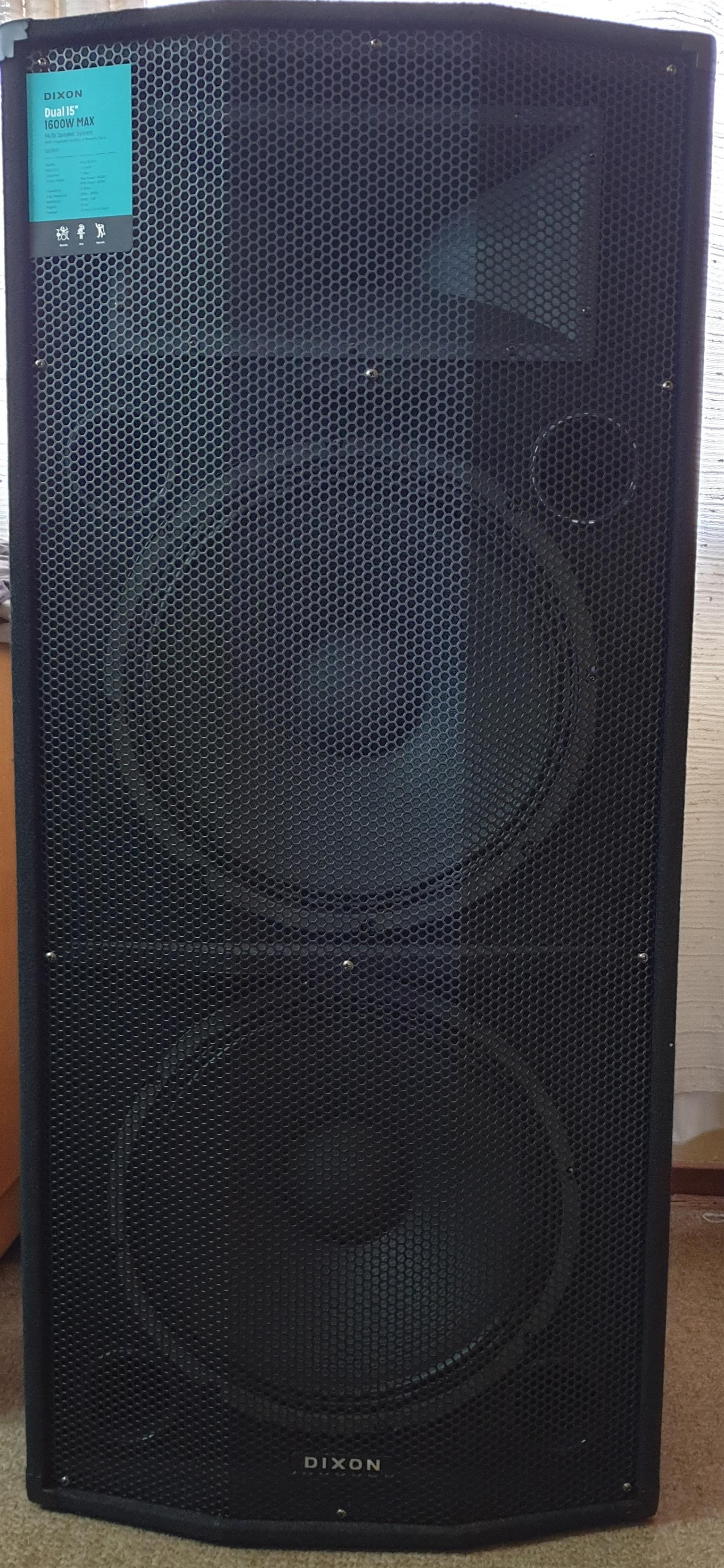 "Dixon 15"" DUAL speakers (x2) + Dixon 12-Channel Powered Amp-mixer"