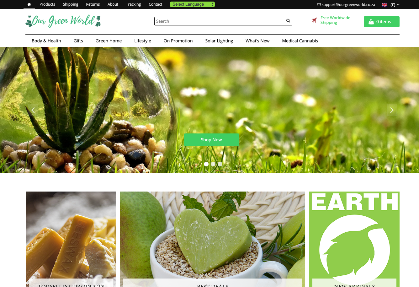 eCommerce Site: Our Green World | Environmental | 100+ Products