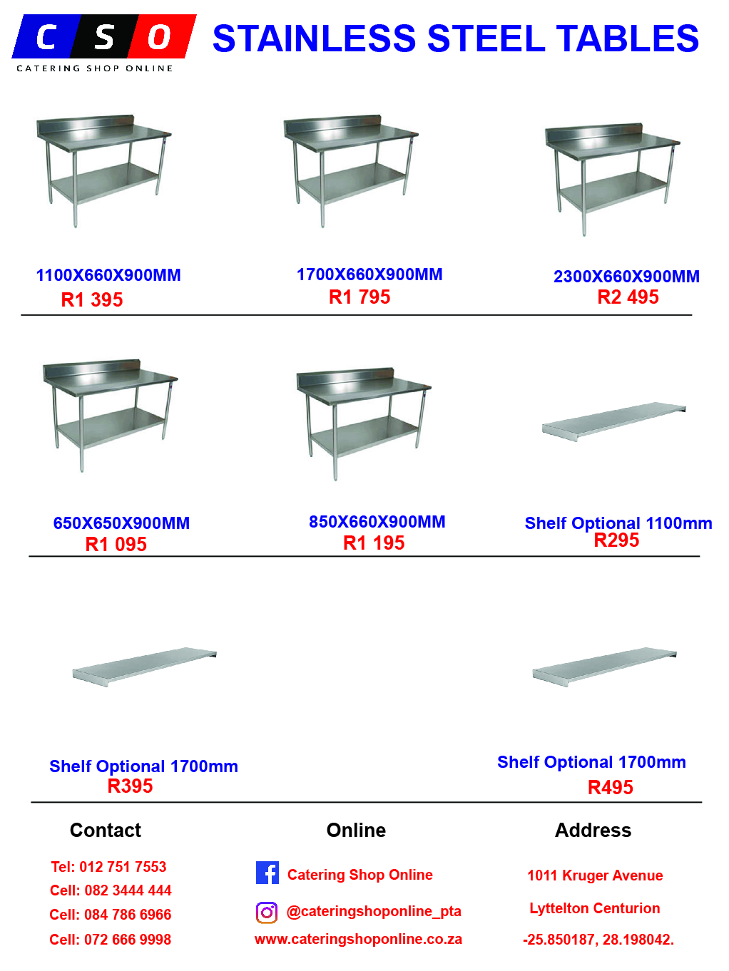 Tables Stainless Steel Available For Sale