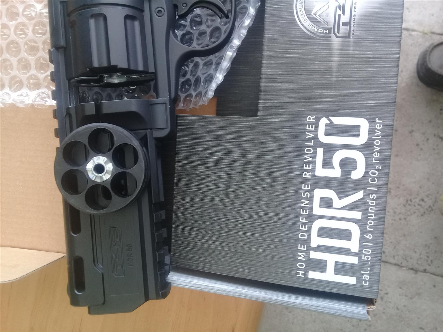 HDR50 High velocity 6 shot revolver. Very potent self defence weapon in .50 inch solid plastic balls