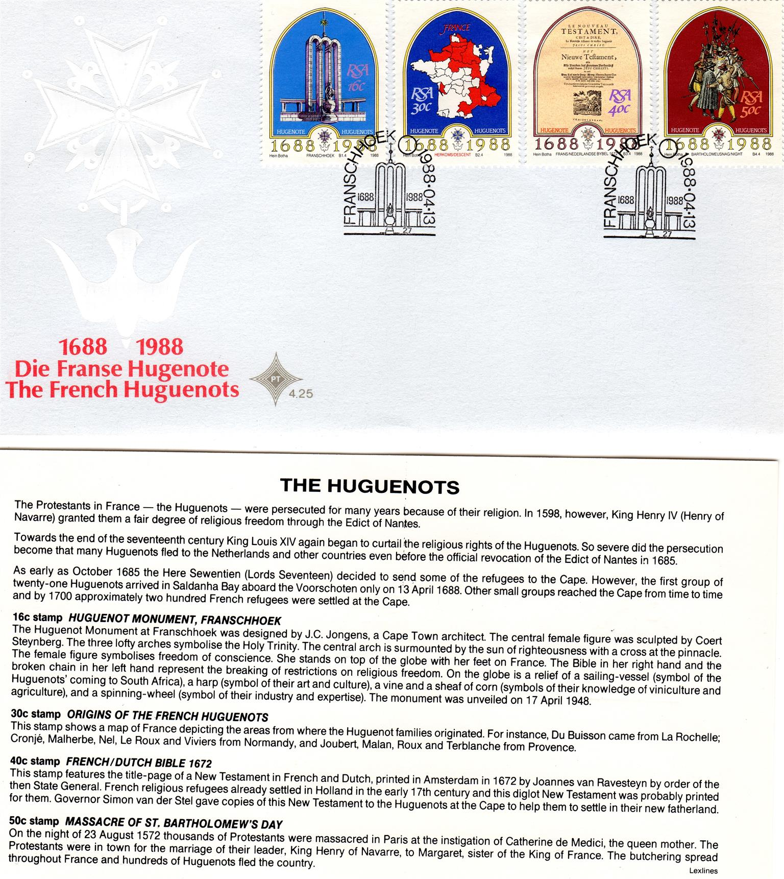Commemorative Stamp & Envelope Set - The French Huguenots 1988