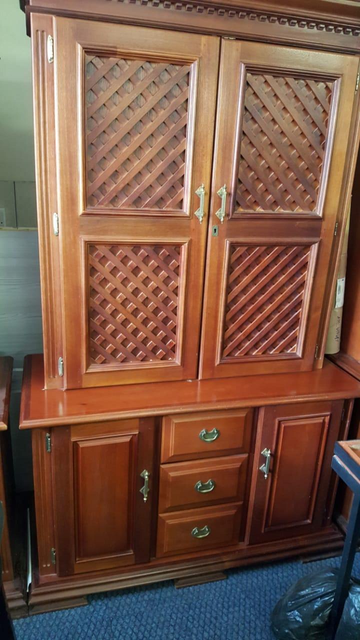 Saligna Wood Lattice Office Filing Cabinets x3