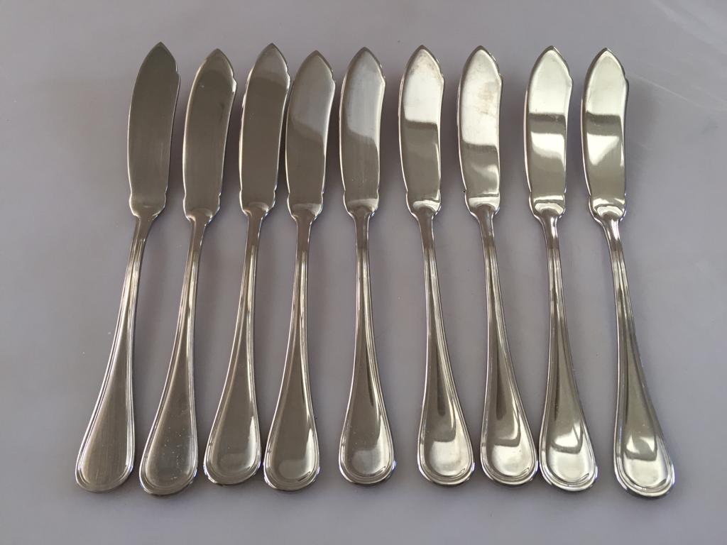 Set of 9 Fish knives by Forum cutlery in 18/10 Steel