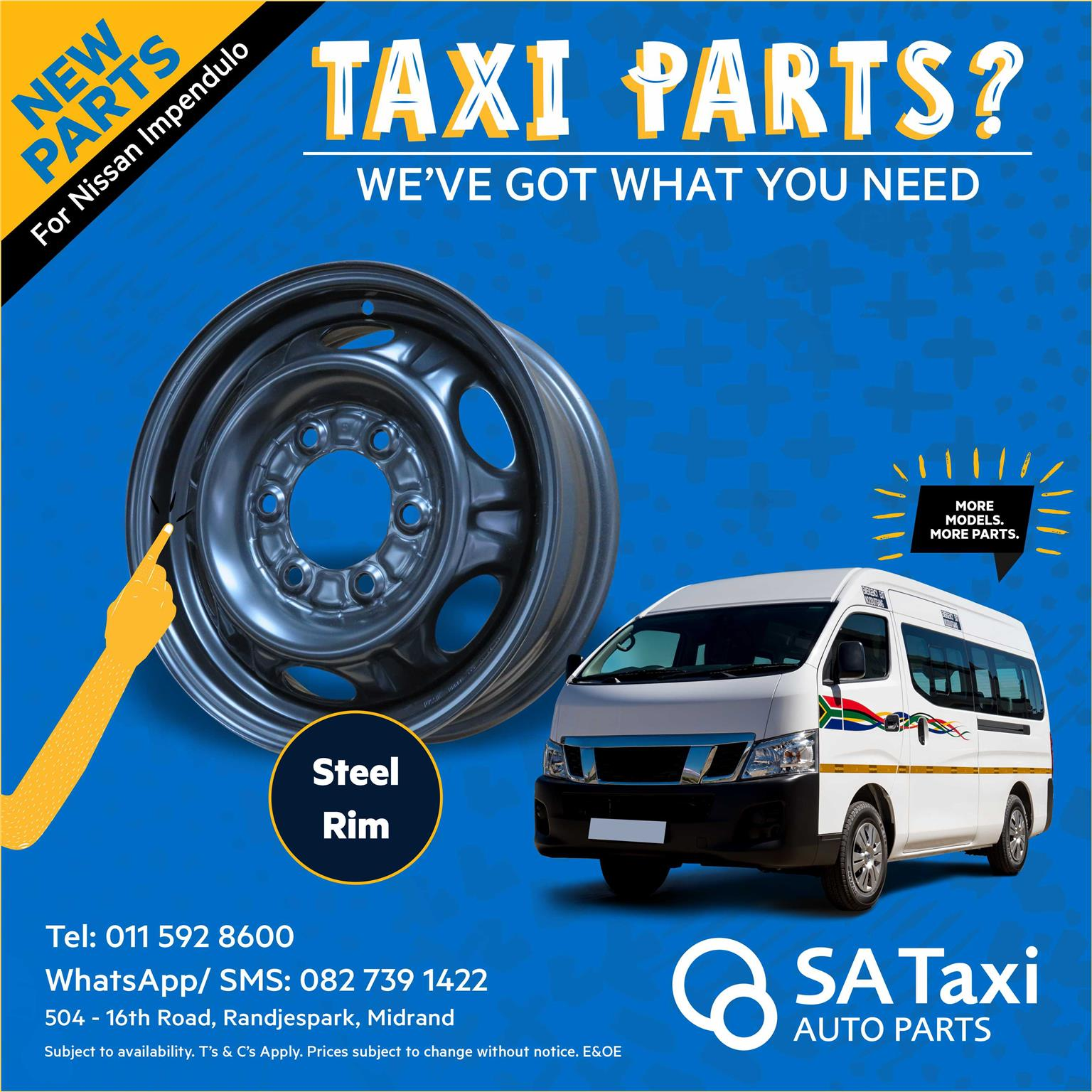 "New 15"" Steel Rim for Nissan NV350 Impendulo - SA Taxi Auto Parts quality spares"