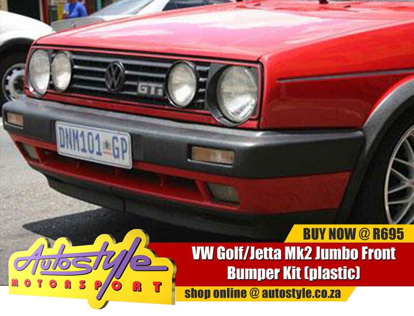 VW Golf Jetta Mk2 Jumbo Front Bumper Kit - Only Bumper Shell - includes 2piece GTi Vented Front Spoiler moulded onto bumper - sealed foglight panels, can be cut out. - can be fitted to VW Golf Mk1 model with slight modifications