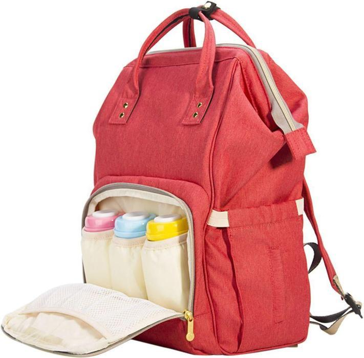 Multi-functional Nappy Backpack With Flower Embroidery