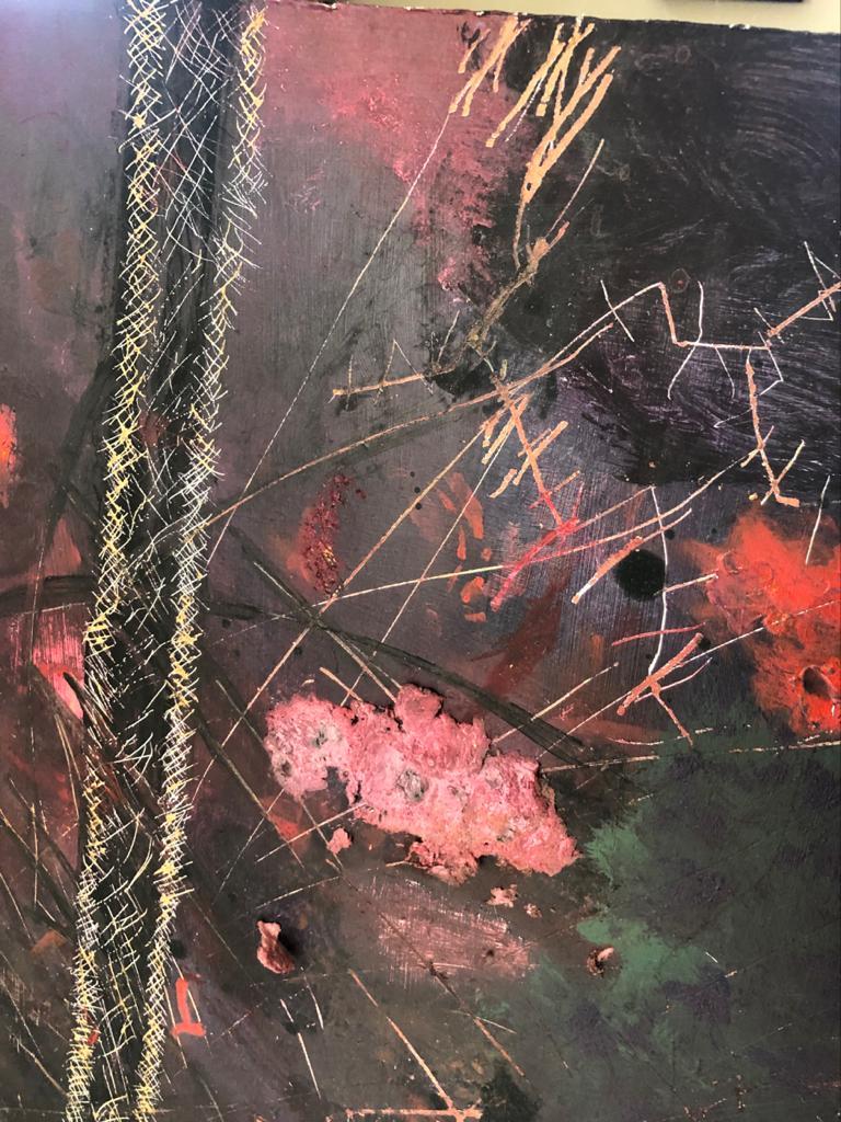 Abstract multimedia art on board - 80 x 122cm
