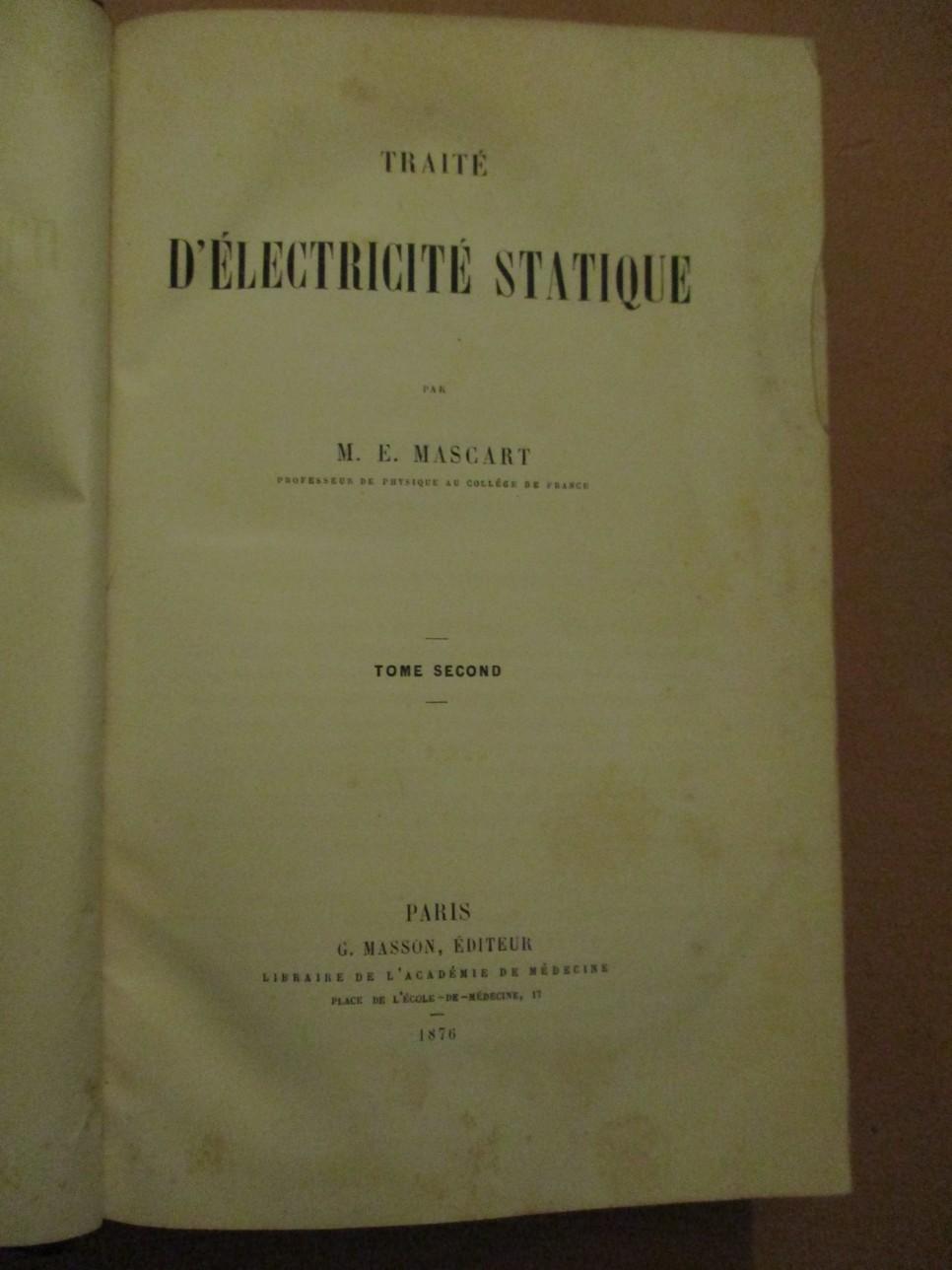 Traite DElectrique Statique volume 2 1876