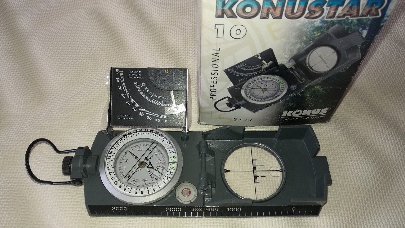 Compass with inclinometer & bubble level.