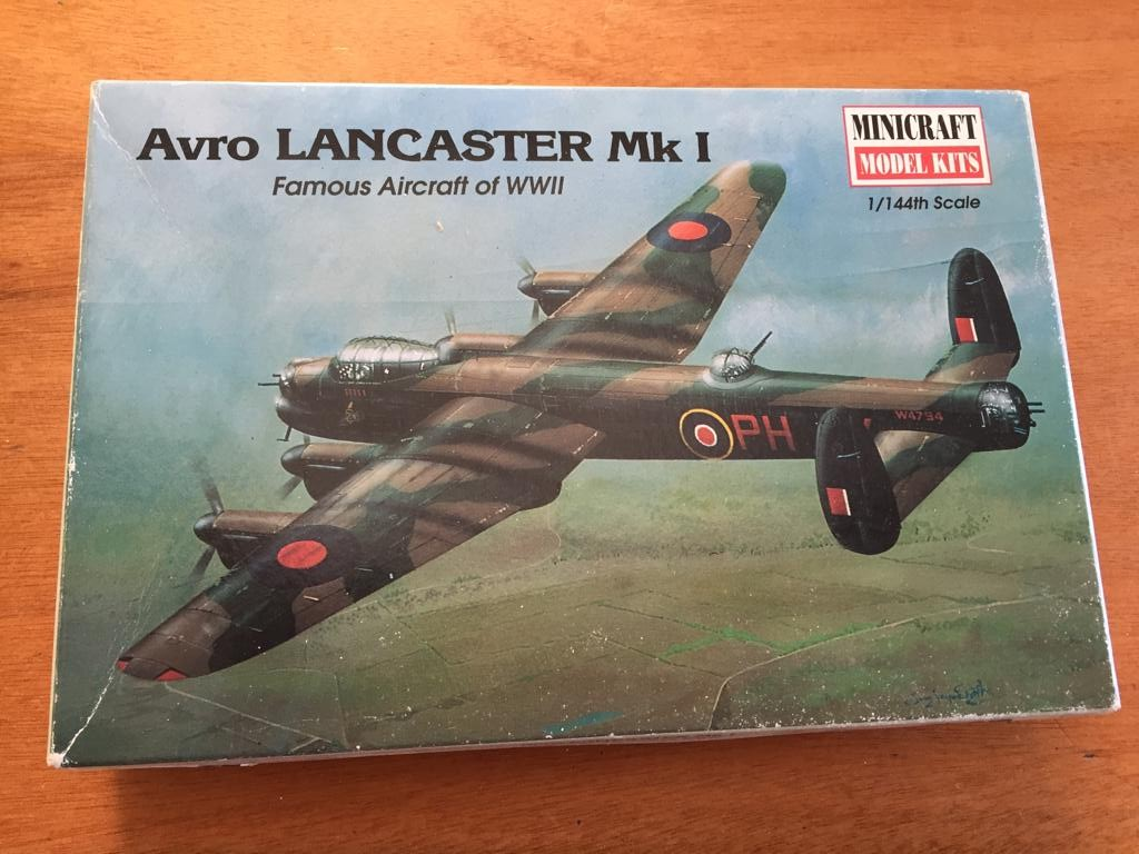 Avro Lancaster RAF Airplane Model Kit - 1/144 Scale - Partially built; Complete