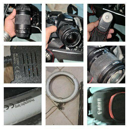 canon camera, ringlight and tripod