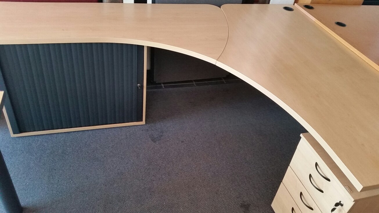 Maple desk with drawers and credenza.