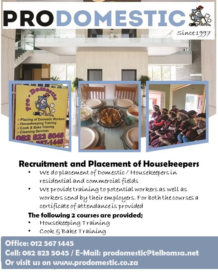 Placement and training of houseworkers / domestic workers