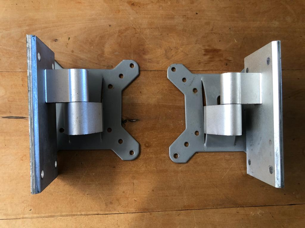 A unique pair of cast aluminium Speaker brackets - tilt and swivel