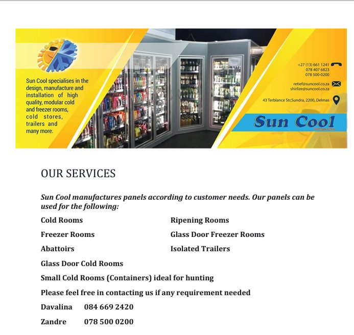 Sun Cool Refrigeration Manufacturing Cold & Freezer Rooms