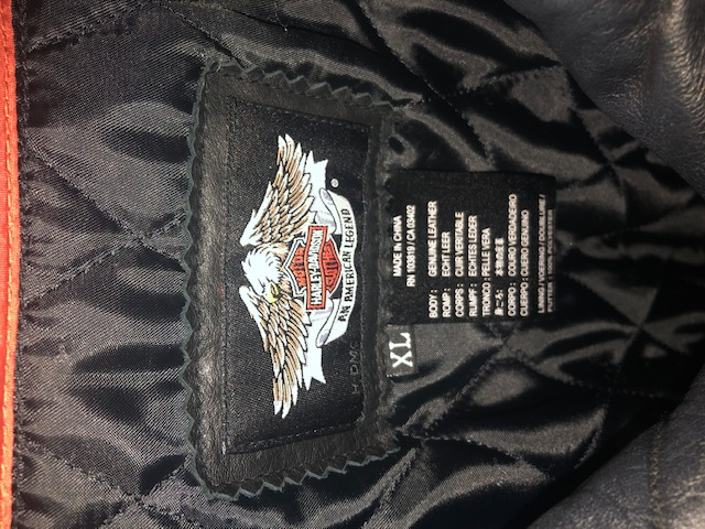 Ladies Harley Black & Orange Leather Bike Jacket