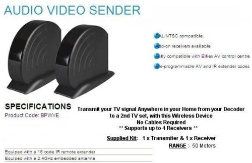 Wireless Audio Video Sender and two Receivers from Ellies.  Uses the latest wire