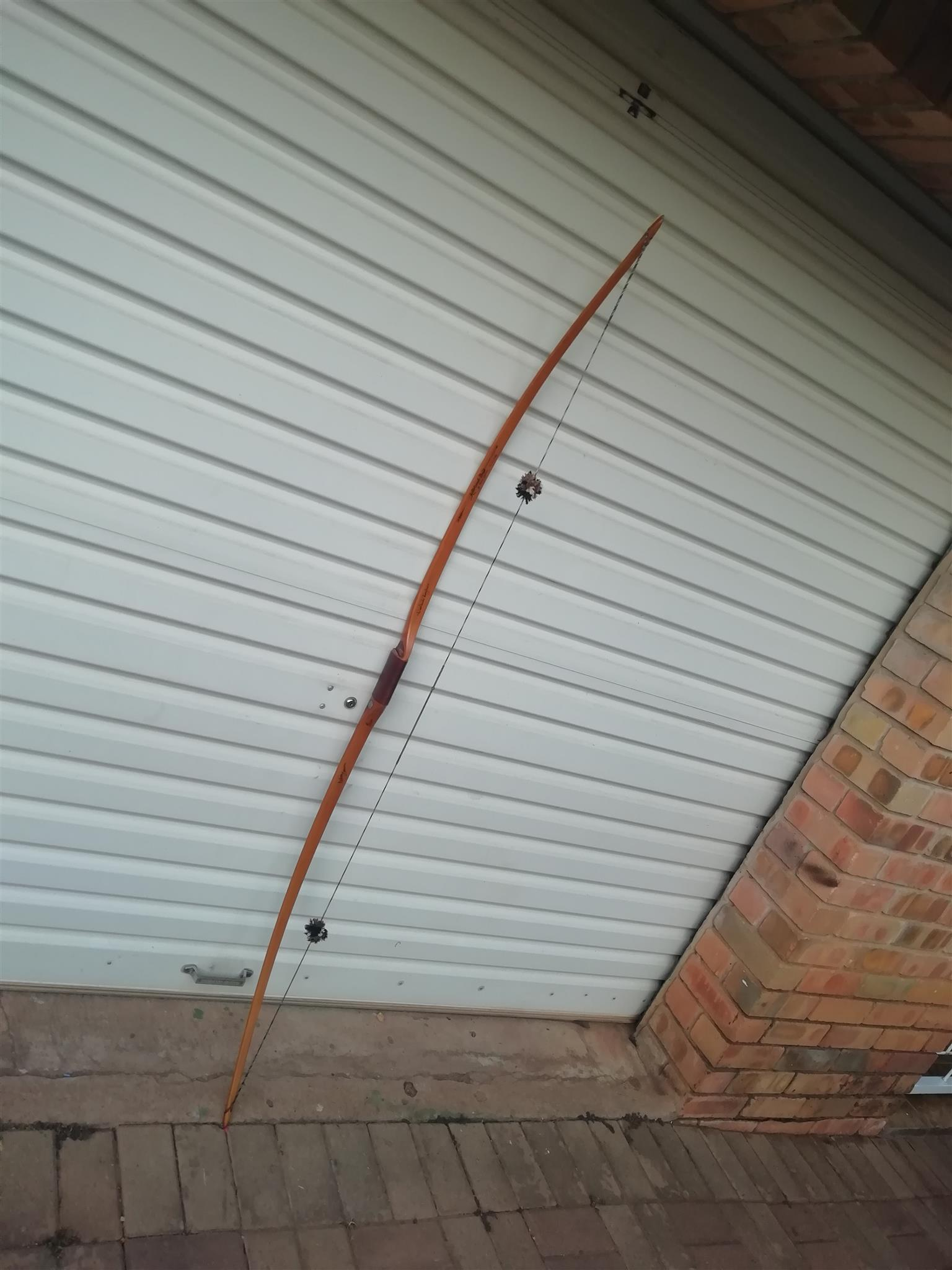 Long bow and arrows