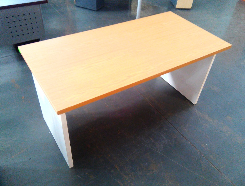 impact desk Oak plus modesty panel and white legs