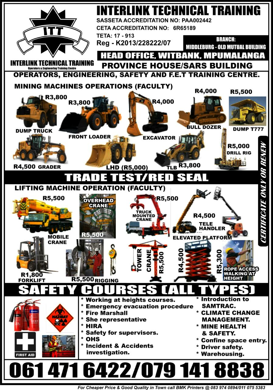 Training in mining machines: dump truck, excavator, dozer, front end loader
