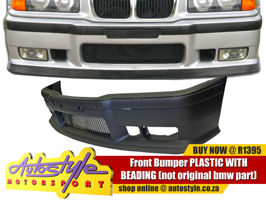 Non-Original Plastic Sport Front Bumper suitable to fit Bmw E36 M3 DOLPHIN - including Mesh  Lower Lip - includes bumper beadings  *This is a non-genuine aftermarket accessory*