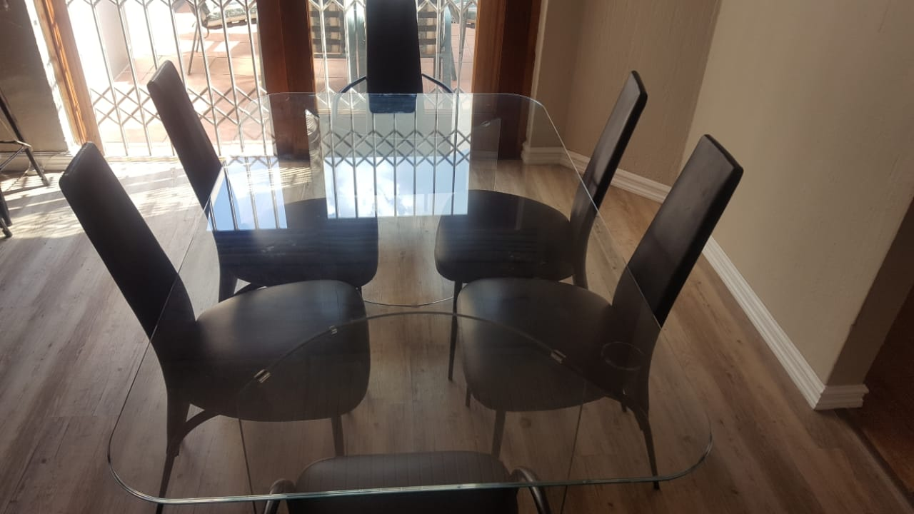 Stunning Modern Full Glass Dining Table High Back Chairs