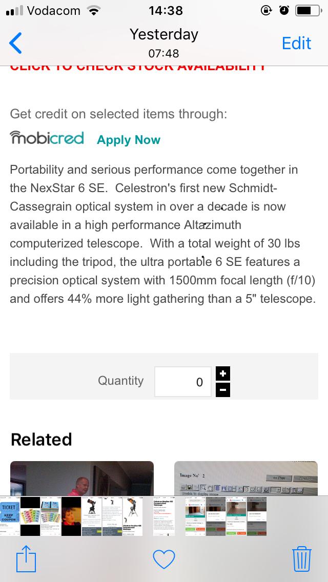 Telescope NexStar 6 se