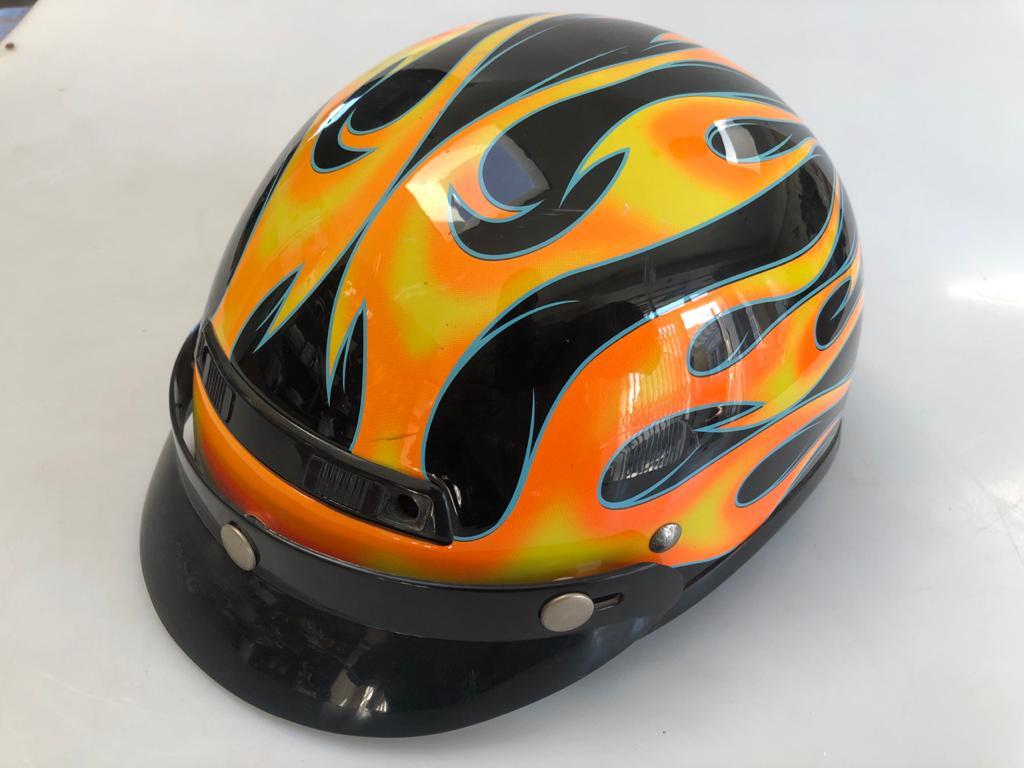 "Funky ""Orange Flames"" half shell open Motorbike helmet - Large 59-60"