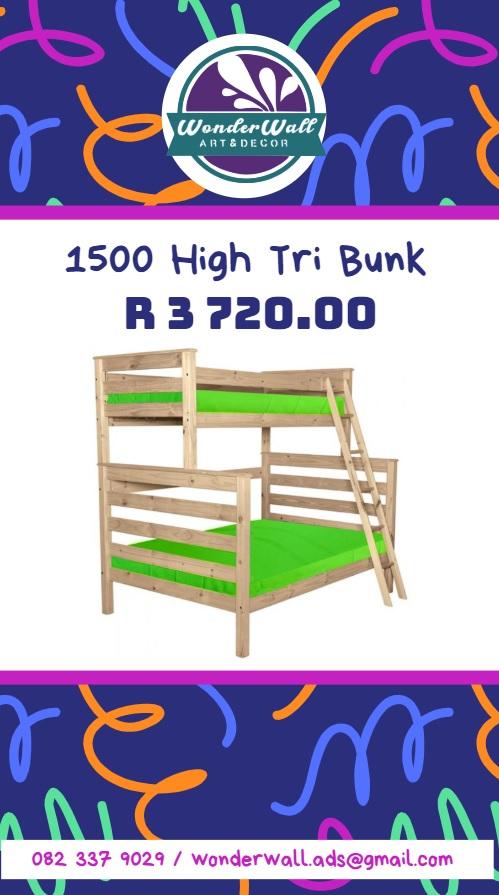 Pine Tri-bunk Bed 1500 High
