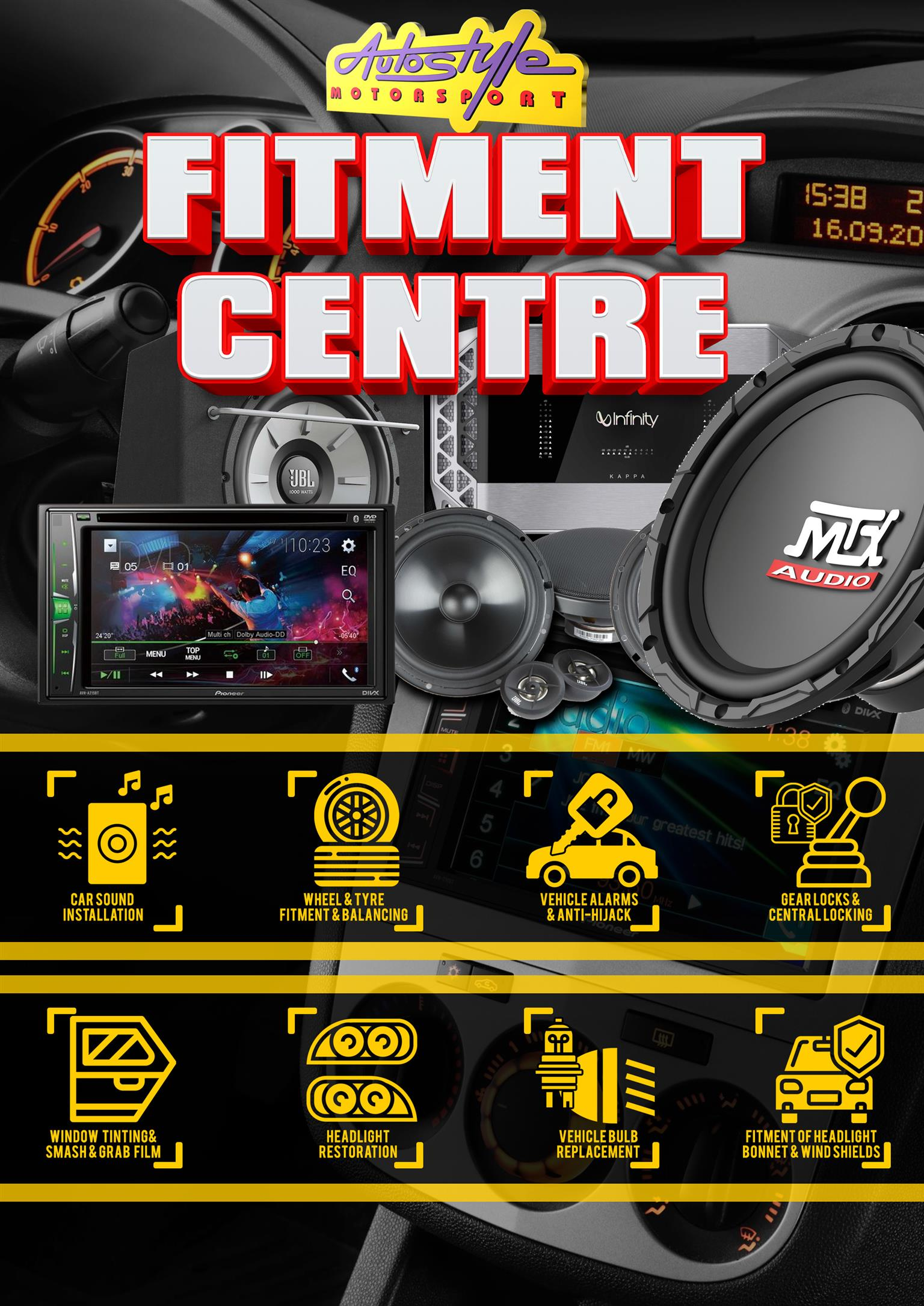 Fitment and supply of Car Audio, tyres, mag wheels, alarm systems, gearlocks, globes and accessories. 7 days a week, We beat any price.