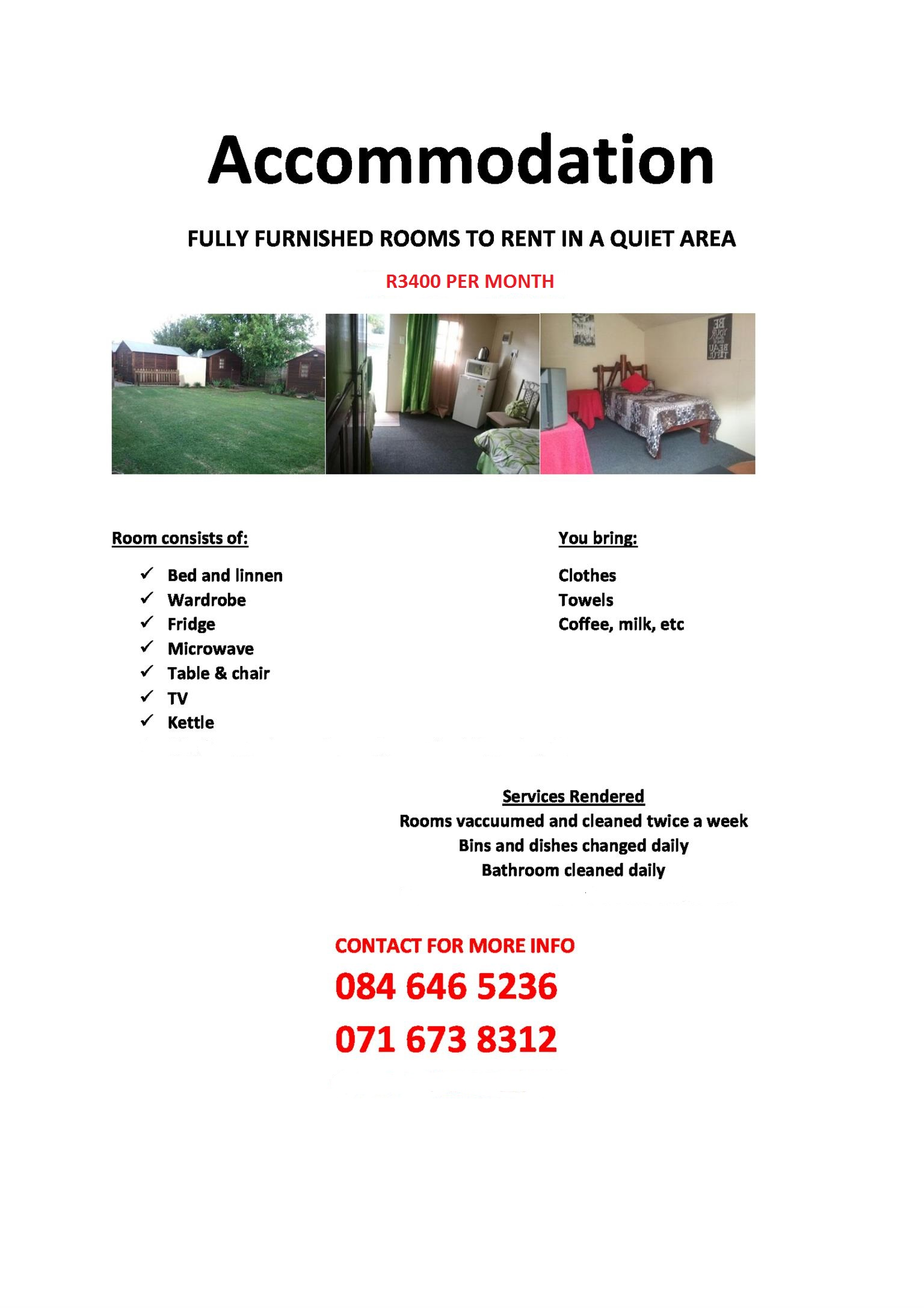 Rooms to rent in a quiet area