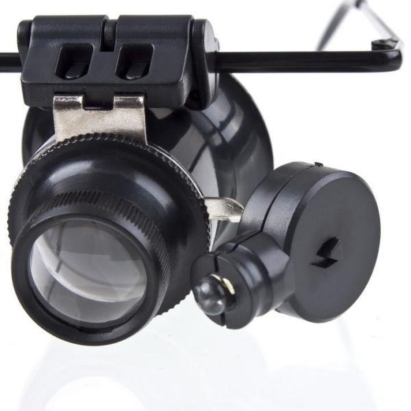 Jeweler Watch Repair 20x Binocular Magnifier Magnifying Loupe Lens Led Light
