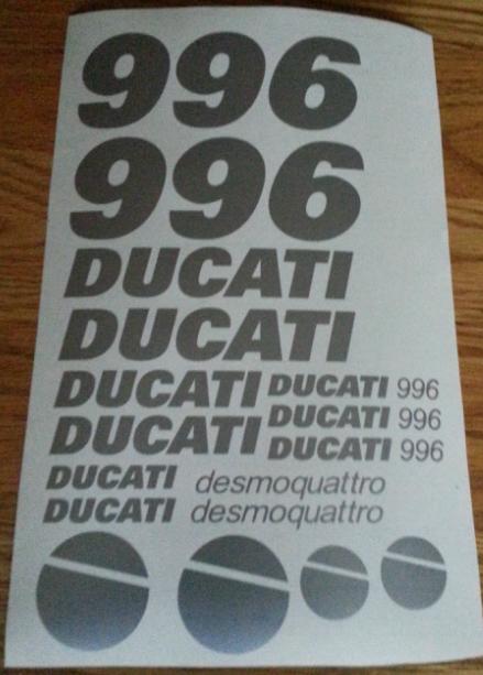2001 Ducati 996 Desmoquattro /  Pista / Performance motorcycle graphics decals stickers kits