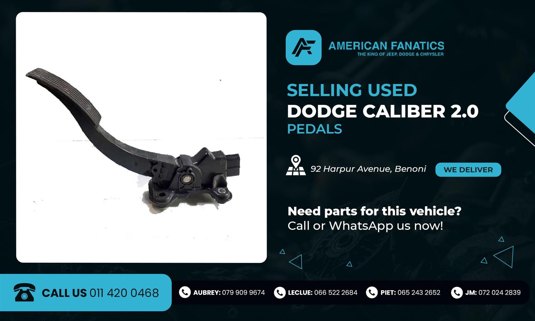 DODGE CALIBER 2.0 USED PEDALS FOR SALE