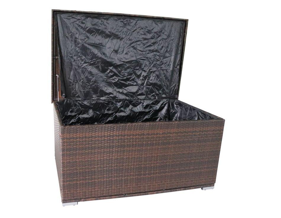 Hazlo Ravena Outdoor Wicker Storage Ottoman - Brown