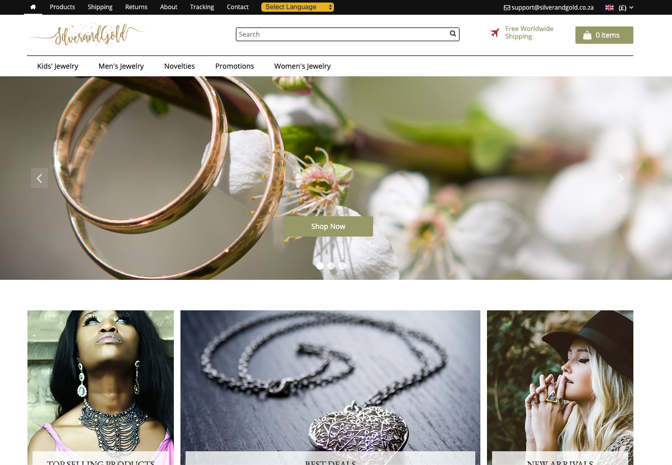 Silver & Gold Jewellery eCommerce Website | 100+ Products
