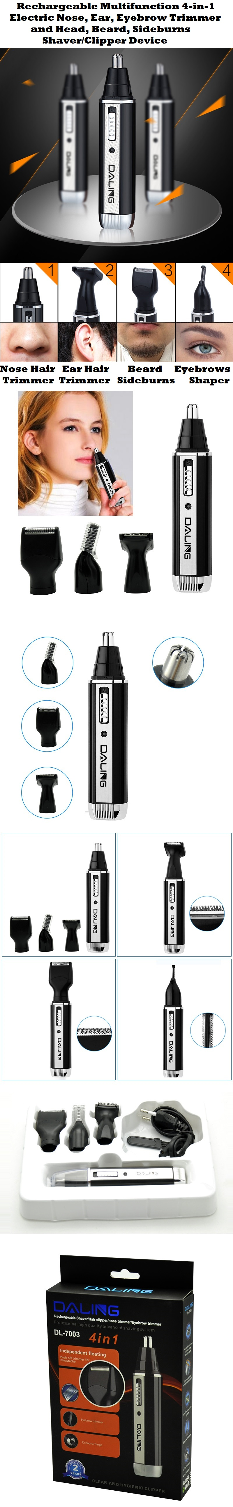 Rechargeable Multifunction 4in1 Electric Nose Hair Trimmer + More