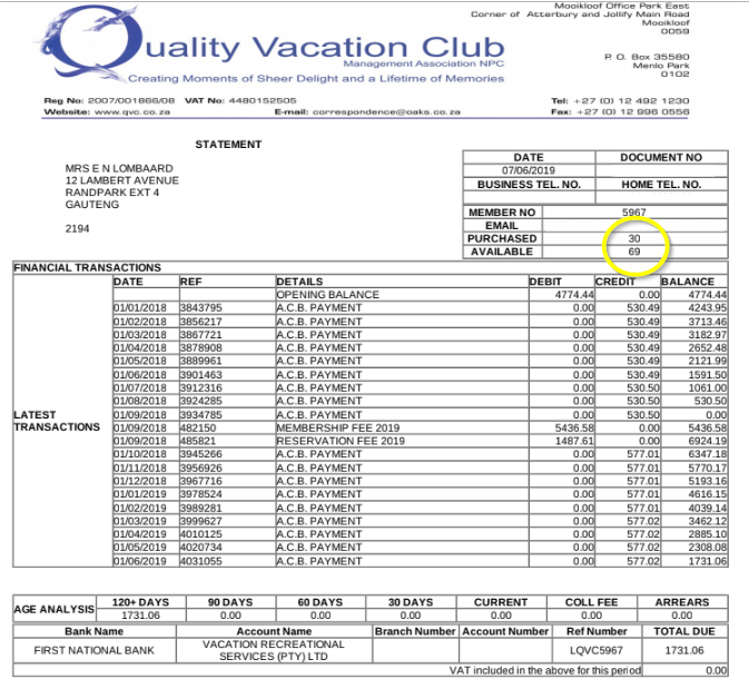 Quality Vacation Club / VRS  membership points or sales