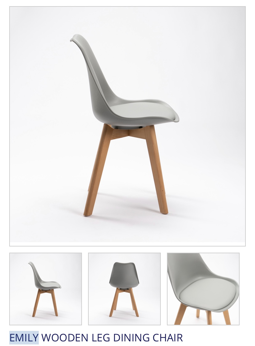 Emily wooden leg dining chairs