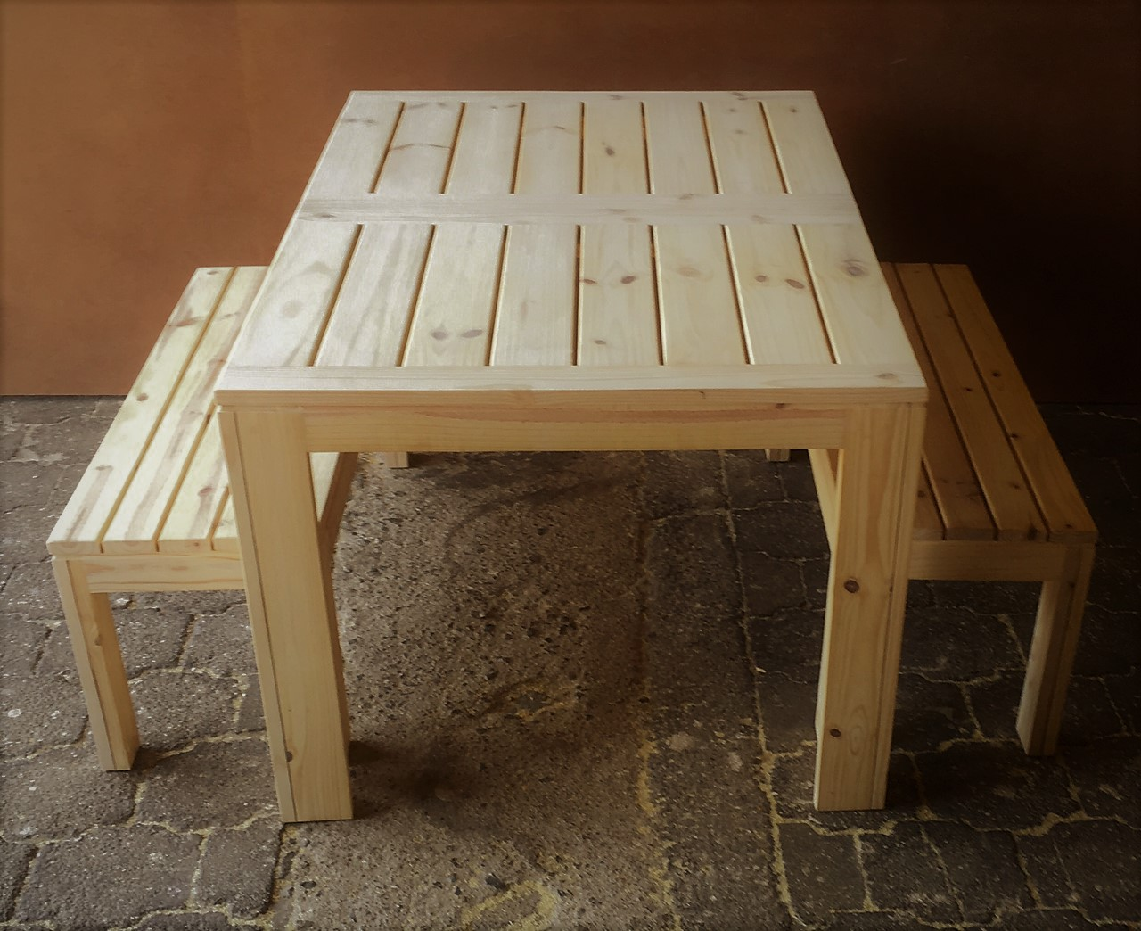 Patio table Cottage series 1400 slatted strips Combo - Raw