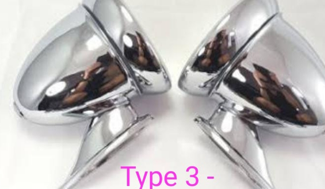 Classic car silver chrome vintage mirrors
