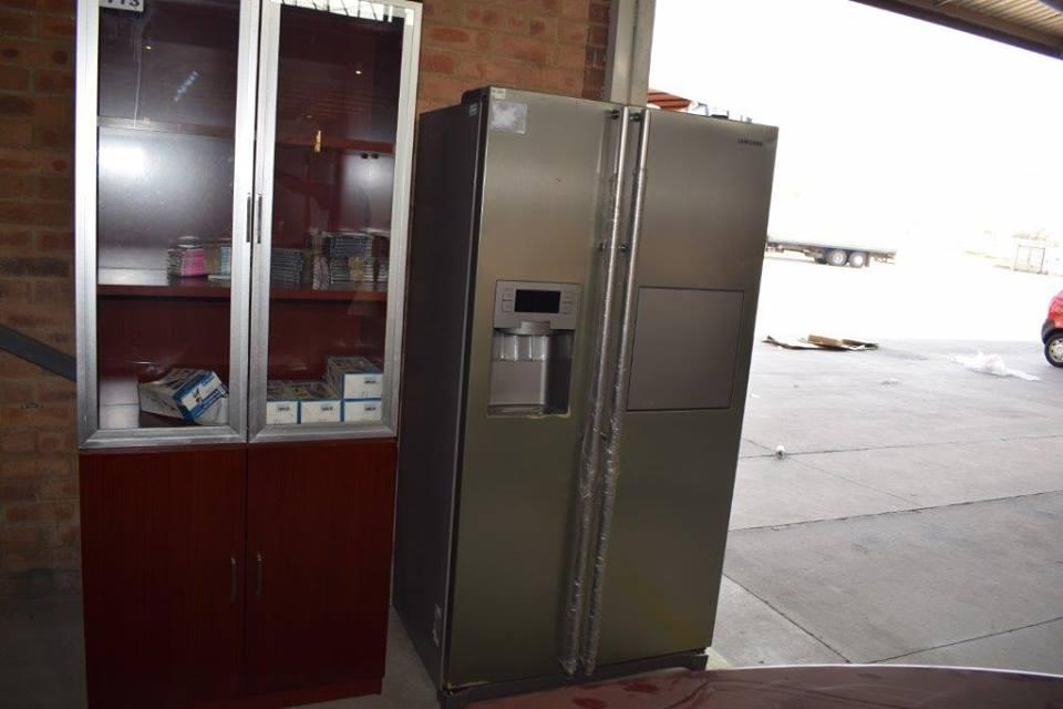 Dispensing silver double door fridge