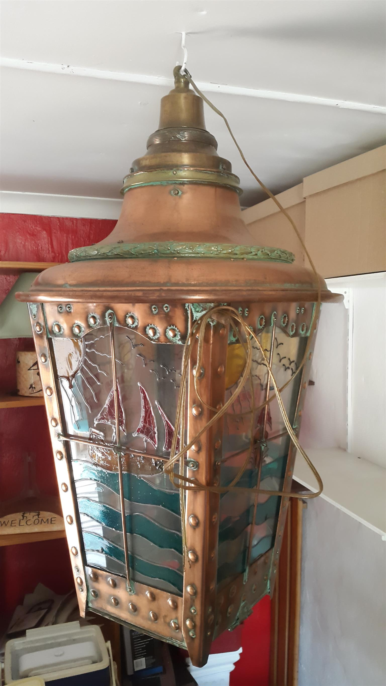 INTERIOR DECOR DREAM Lamp: 1-of-a-Kind Exciting find Quality Very Old copper and brass ship Lamp.