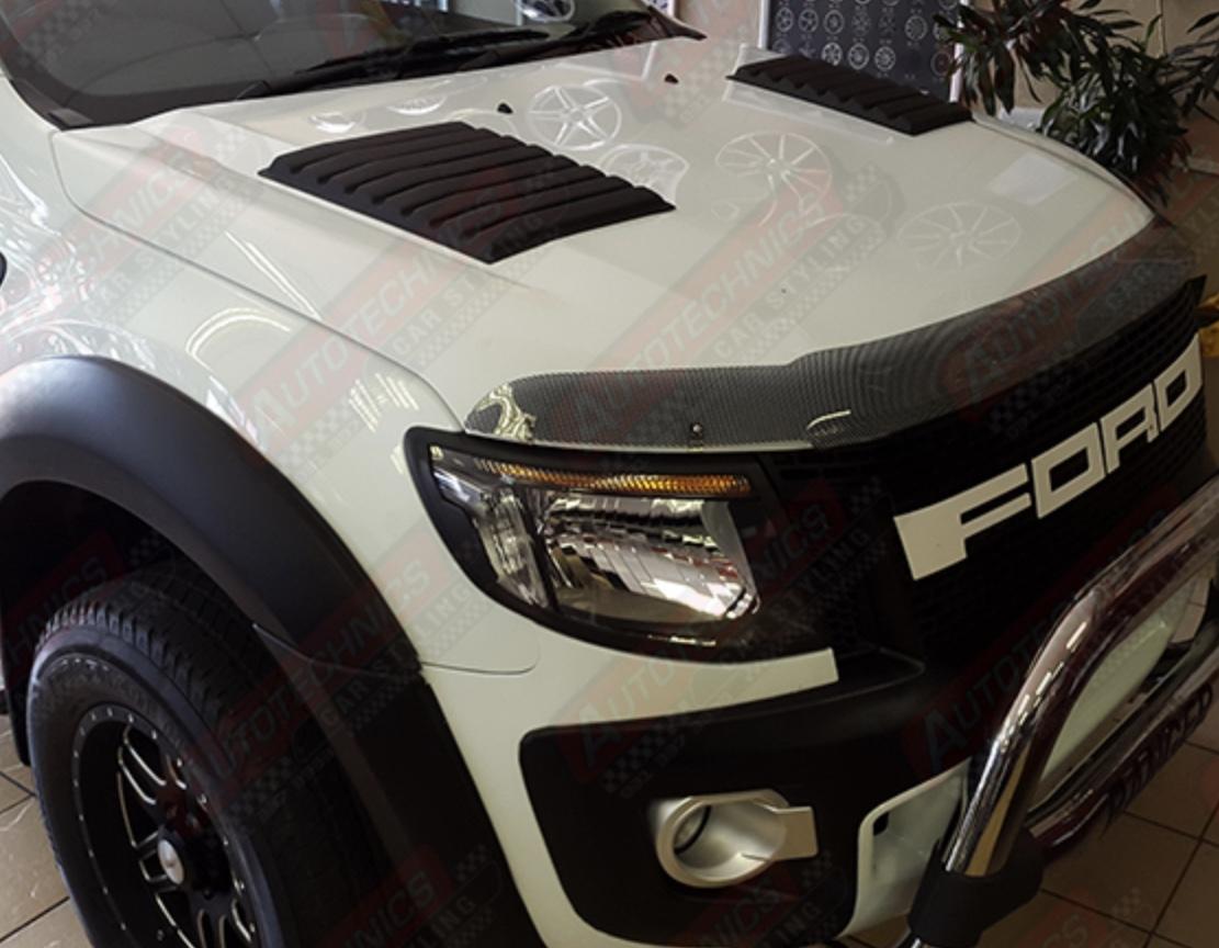 Ford Ranger Carbon Fiber Headlights + Bonnet Cover