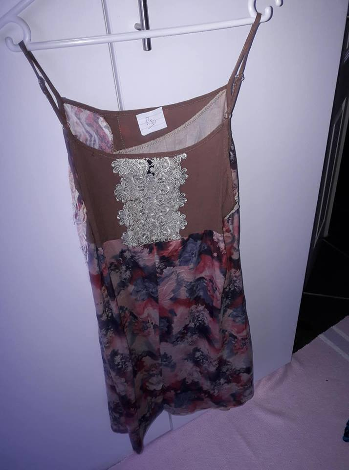 BROWN AND FLORAL SUMMER DRESS