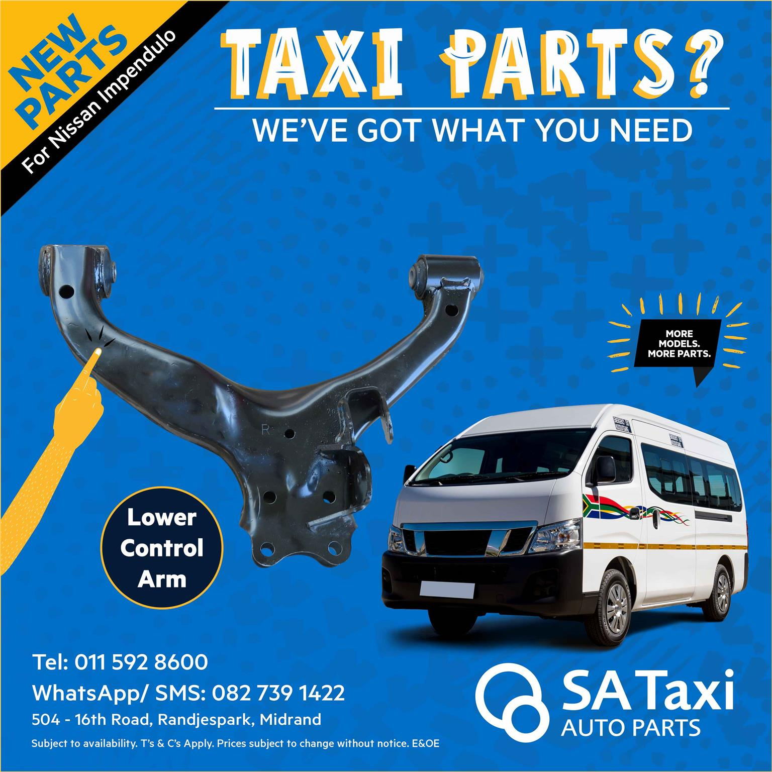 NEW Lower Control Arm suitable for Nissan NV350 Impendulo - SA Taxi Auto Parts quality spares