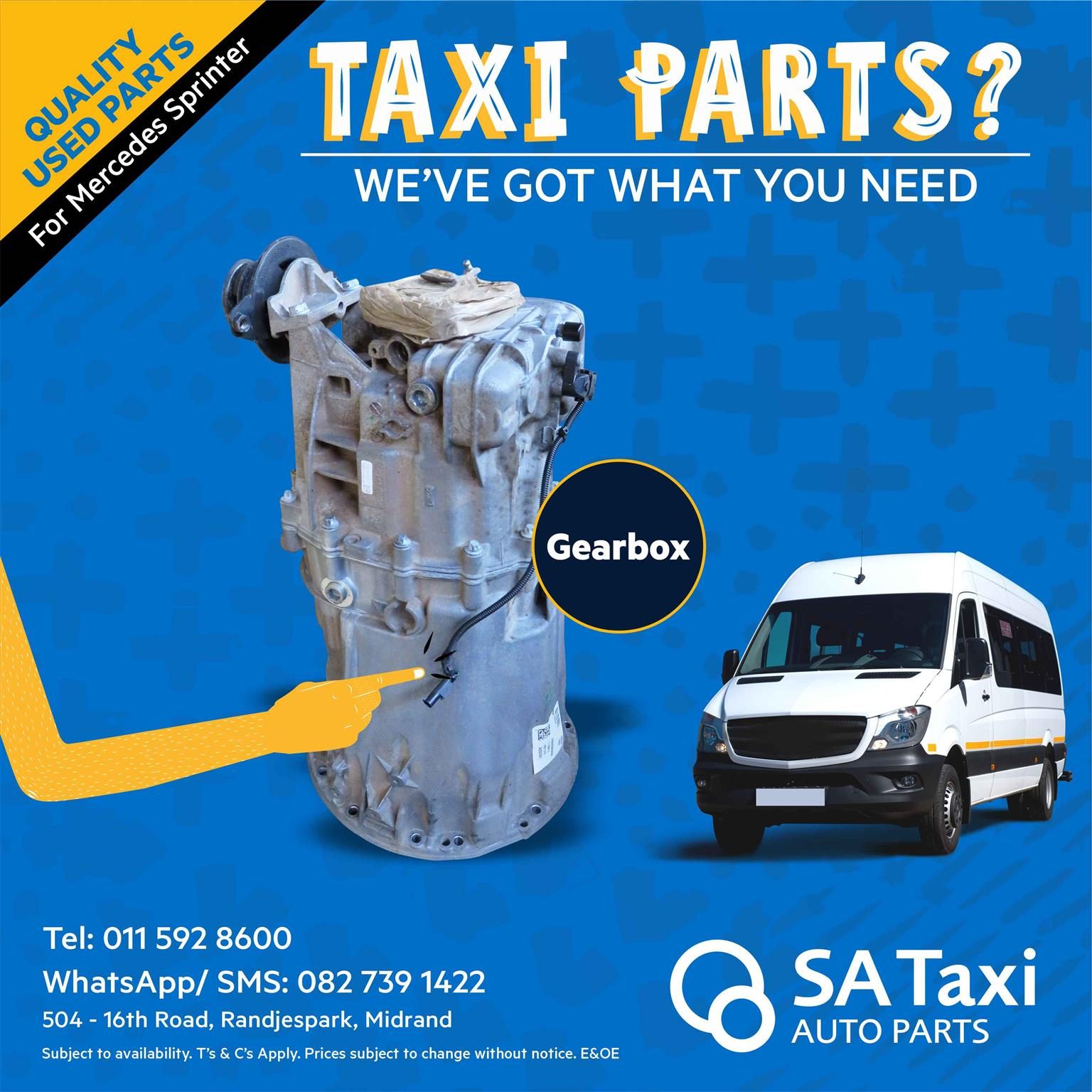 Manual Gearbox suitable for Mercedes Sprinter 518 /519 / 515 - SA Taxi Auto Parts quality used spares