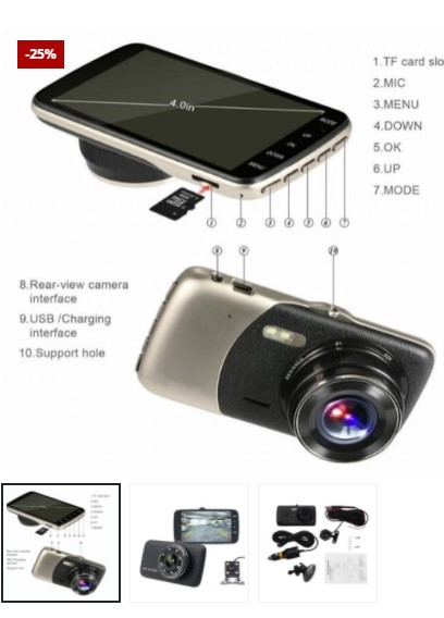 Dual View Camera for Vehicles + Free 32GB