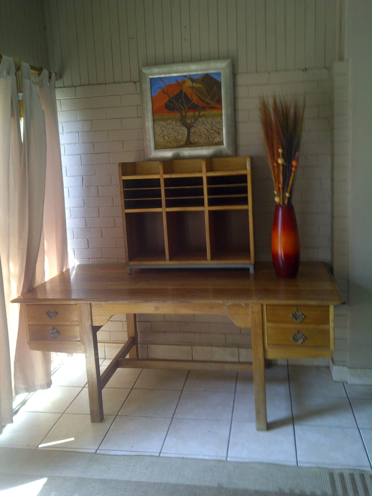 FOR SALE - SOLID OFFICE DESK AND CREDENZA