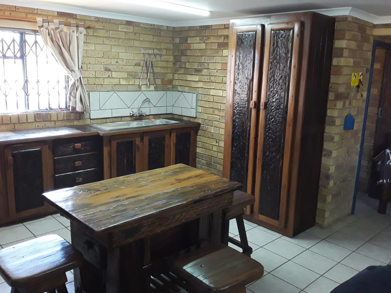 Kitchen work area and cupboards